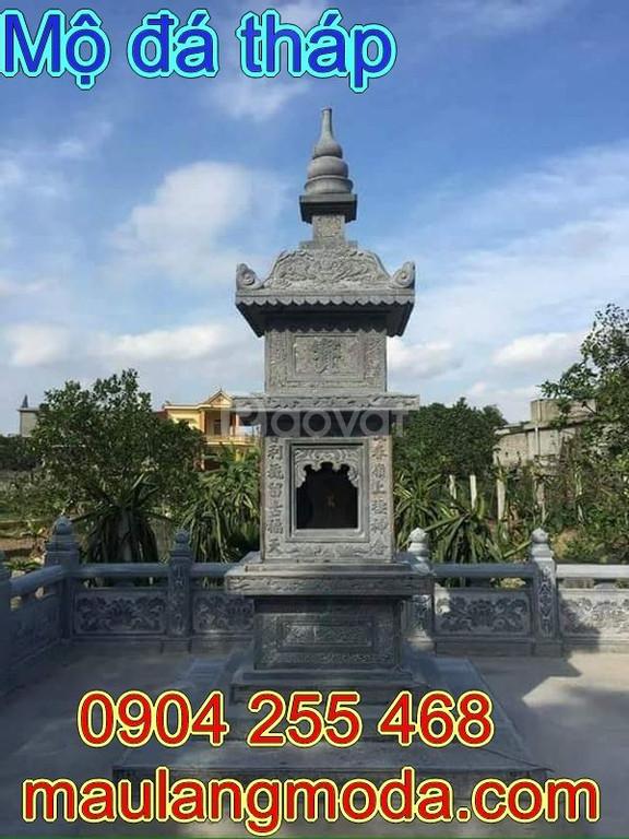 Mẫu mộ tháp đá đẹp cho người theo phật giáo được chạm khắc tinh tế