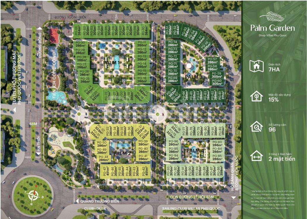 Shop House Palm Garden Phú Quốc mặt tiền 36m, 320m2,chênh lệch 400tr