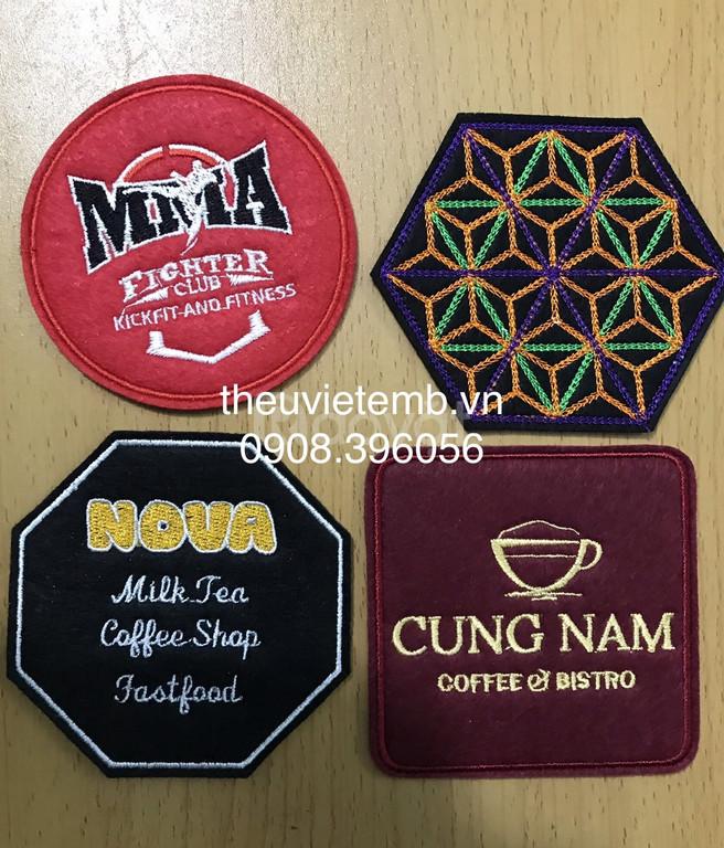 Chuyên sản xuất đế lót ly vải nỉ cho nhà hàng, quán cà phê có in thêu