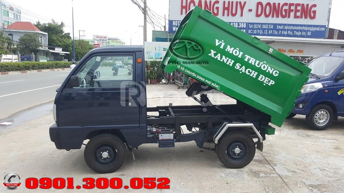 Xe ép rác Suzuki 500 kg nhập khẩu vào hẽm nhỏ, thùng xe ép inox 304