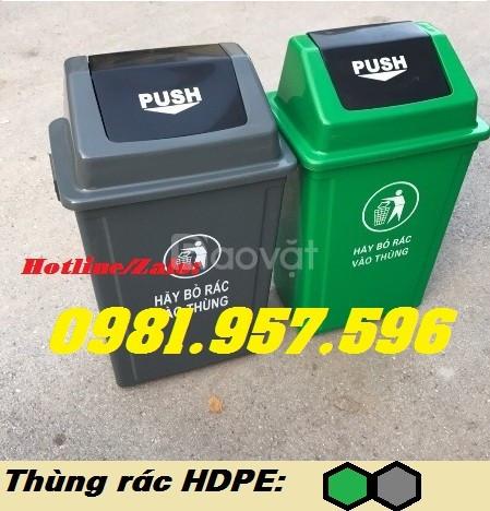Thùng rác nhựa nắp lật, thùng rác 60l nắp lật