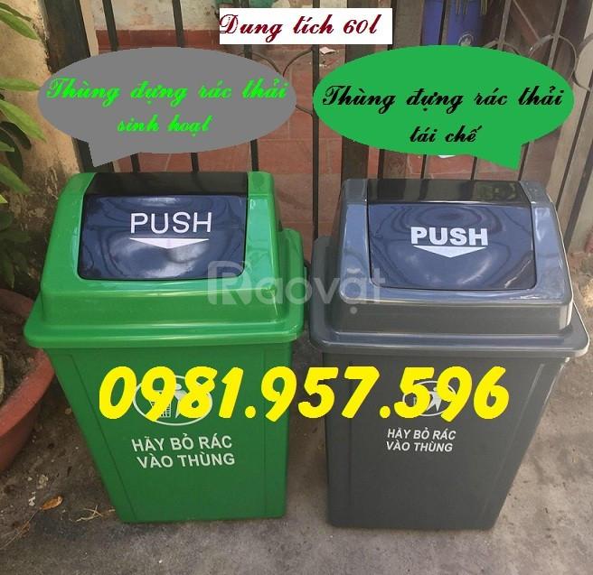 Thùng rác nắp lật 60l, thùng rác ngoài trời 60l, thùng rác phân loại