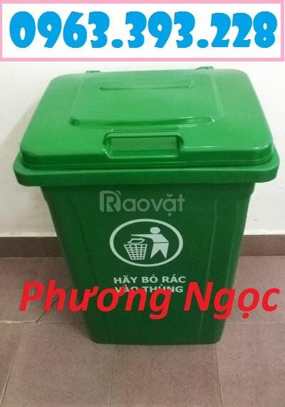 Thùng rác 90 Lít nắp kín, thùng rác nhựa HDPE, thùng rác công nghiệp