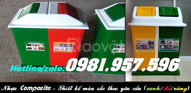 Thùng phân loại rác 2 ngăn, thùng rác 2 ngăn 120l, thùng rác nắp lật