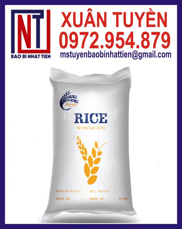 Bao PP trắng đựng gạo, bao đựng gạo in flexo
