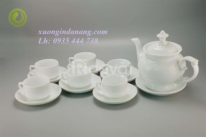 Sản xuất in ấn logo bộ ấm trà sứ bát tràng tại Đà Nẵng