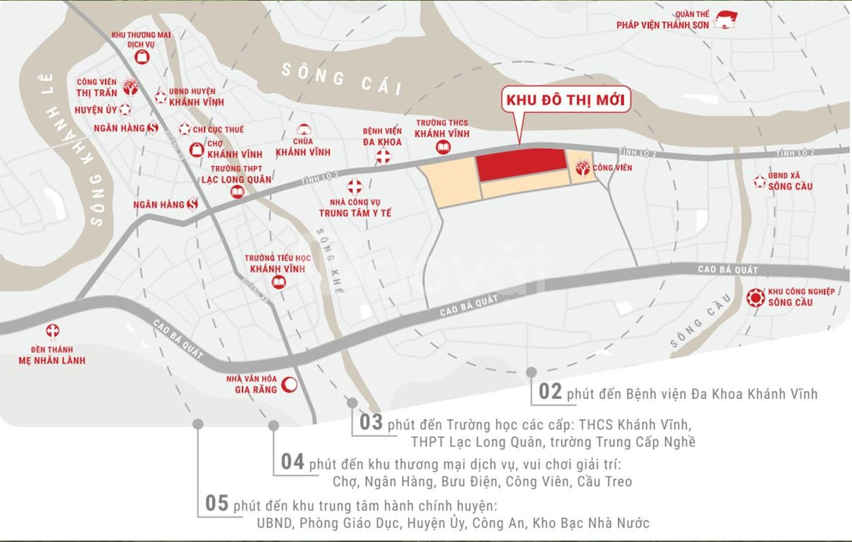 Bán đất thổ cư TT Khánh Vĩnh, giá 4tr/m2.