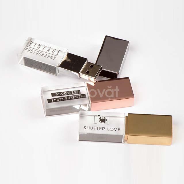 USB pha lê in logo 3D có đèn led giá rẻ.