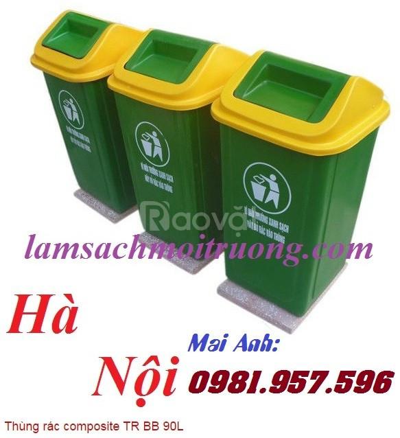 Thùng rác nắp lật ngoài trời, thùng rác nắp lật 90L, thùng rác nắp lật