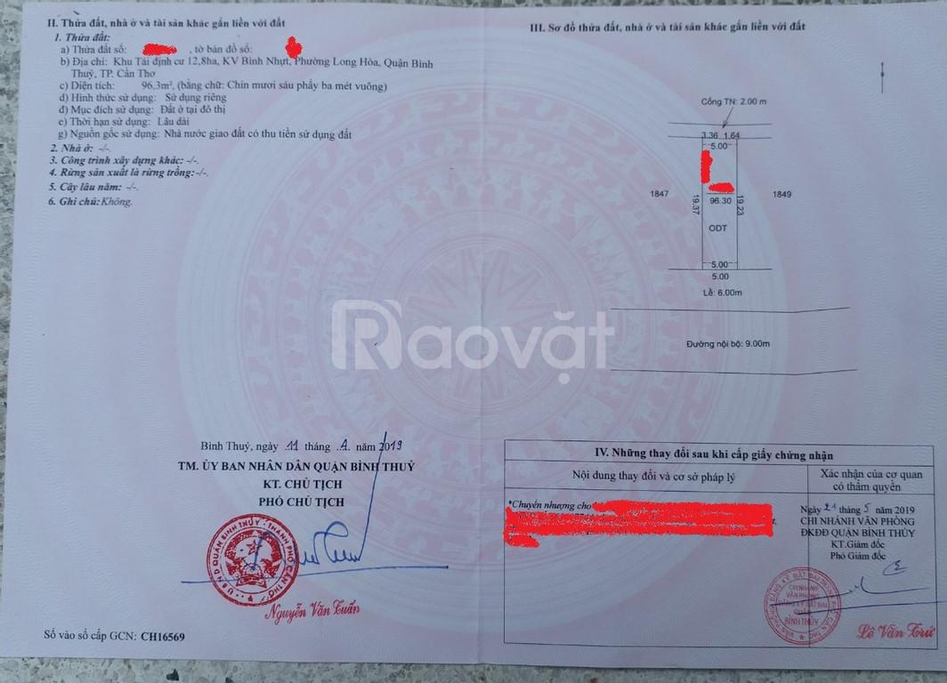 Bán 96m2 đất thổ cư trên Võ Văn Kiệt cách Lotte Mậu Thân 2km