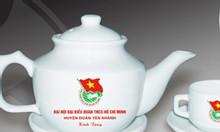 Cung cấp in ấn gốm sứ tại Đà Nẵng, Bộ Bình trà in logo tại Đà Nẵng