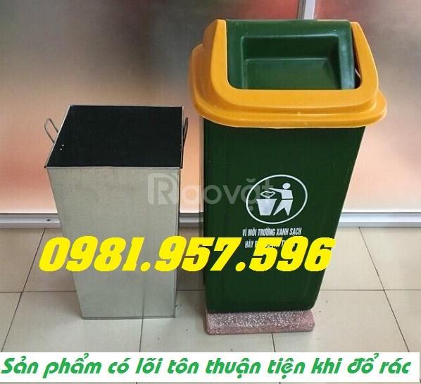 Thùng rác Compsite nắp lật, thùng rác Composite 90L, thùng rác