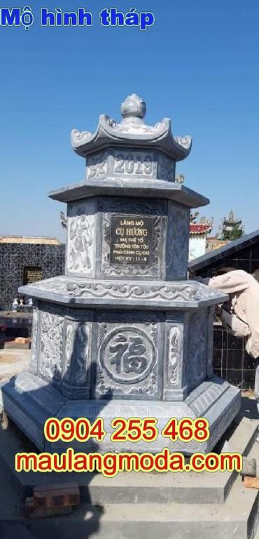 Mẫu mộ hình tháp phật giáo bằng đá được thiết kế đơn giản