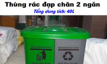 Thùng rác HPDE chia ngăn, thùng rác 2 ngăn 40L