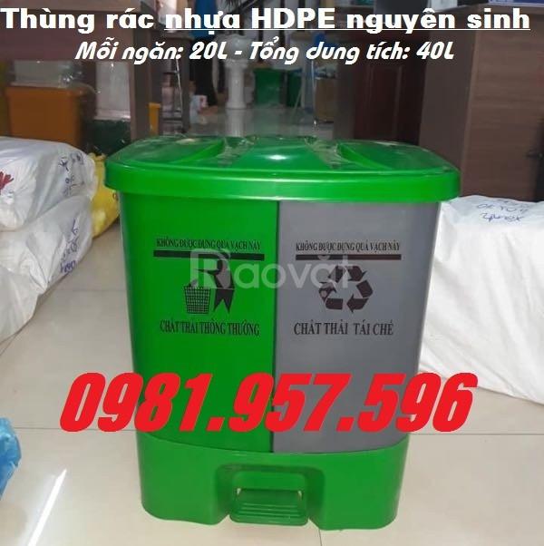 Thùng rác phân loại, thùng rác nhựa HDPE đạp chân 40L
