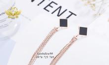 Bông tai titan mặt vuông đen mix nhiều dây thả dài 1043