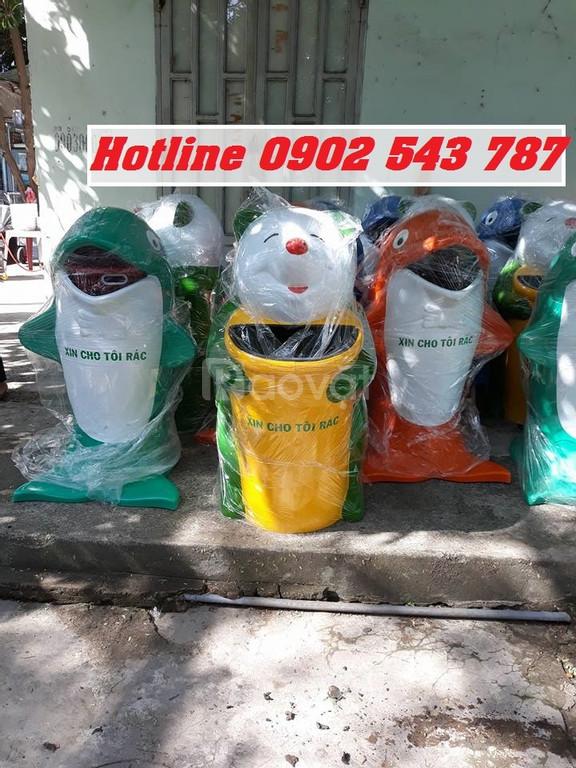 Sản xuất thùng rác hình con thú, thùng rác hình thú trường học giá rẻ