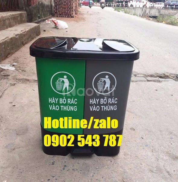 Thùng phân loại rác 2 ngăn, thùng rác 2 ngăn 40 lít, thùng rác 2 ngăn