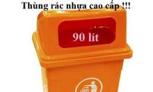 Thùng rác nhựa 90l nắp hở, thùng rác nhựa ngoài trời 90l