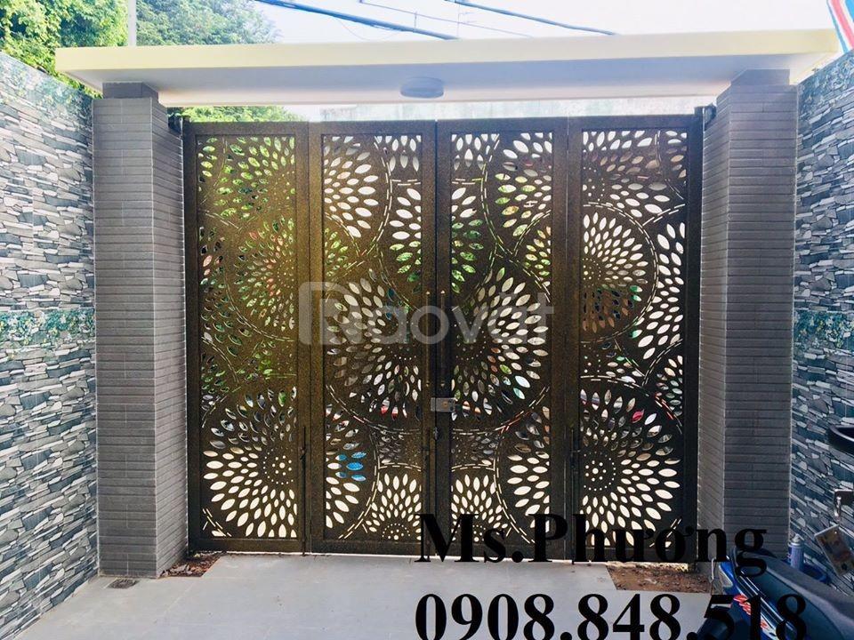 Cửa, cổng biệt thự cắt CNC nghệ thuật, sang trọng, sơn bền màu 2020 (ảnh 6)