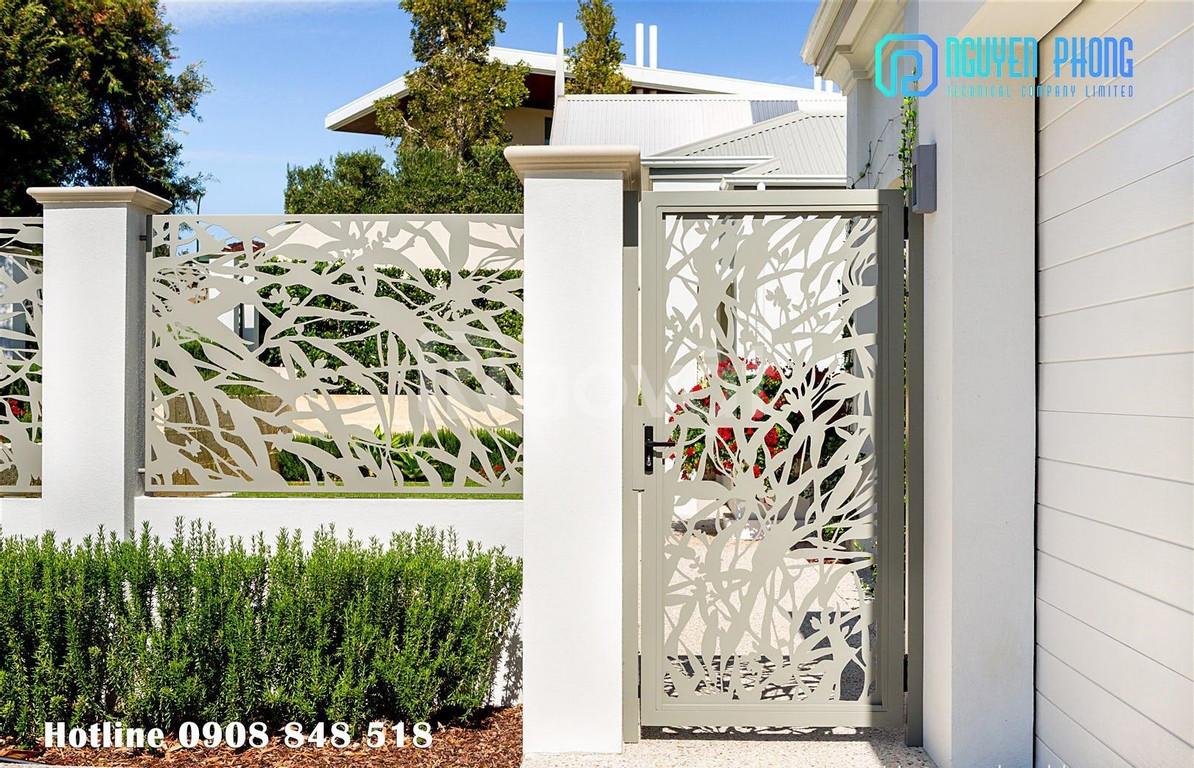 Cửa, cổng biệt thự cắt CNC nghệ thuật, sang trọng, sơn bền màu 2020 (ảnh 8)