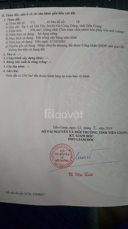 Bán 2 lô đất đẹp huyện Gò Công Đông, Tiền Giang, SĐCC, giá tốt