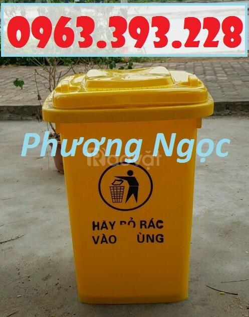 Thùng rác 60L nắp kín, thùng rác nhựa HDPE, thùng rác công cộng