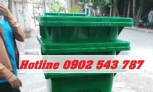 Thùng rác hdpe 120 lít, thùng rác 120l có bánh xe