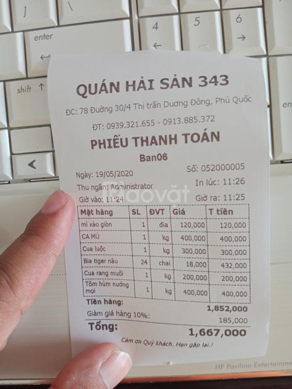 Phần mềm tính tiền cho quán ốc tại Phú Quốc