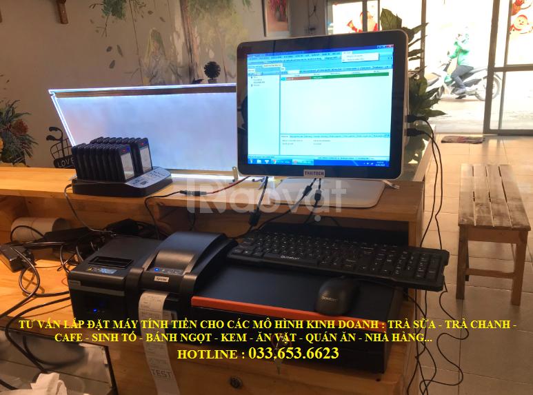 Trọn bộ máy tính tiền 2 màn hình cho mô hình Trà Chanh