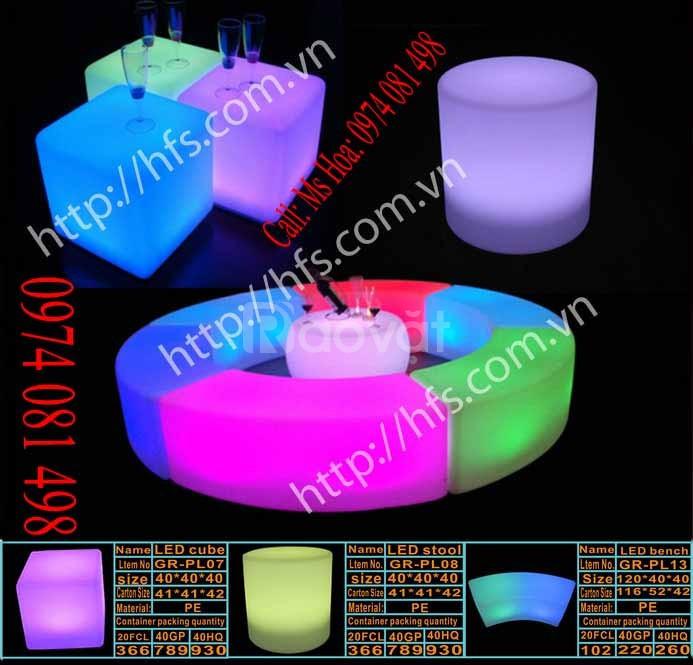 Bàn led ghế led giá rẻ, quầy bar led phát sáng đổi màu