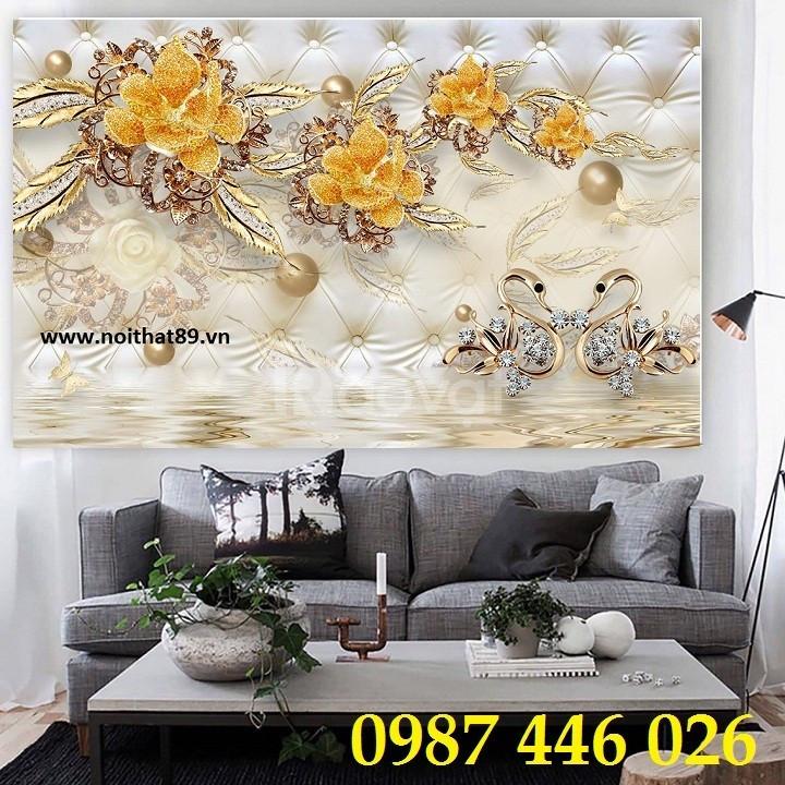 Tranh phòng khách, tranh dán tường, gạch 3d