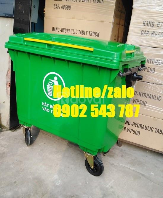 Xe đẩy thu gom rác 660l, xe thu gom rác 660 lít HDPE giá rẻ