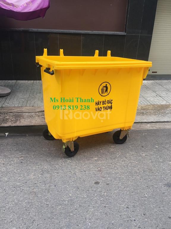 Bán xe đẩy gom rác đô thị 660 lit có 4 bánh xe