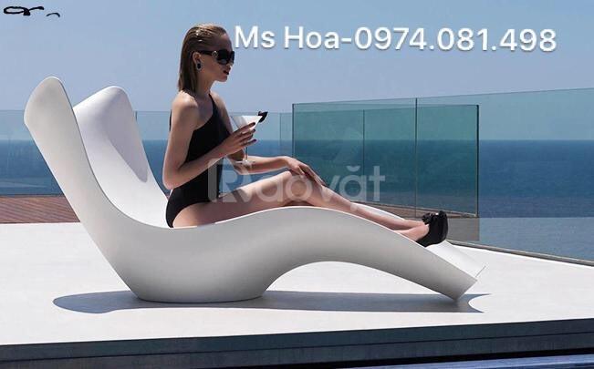 Ghế nhựa hồ bơi Fiberglass, ghế nằm tắm nắng (ảnh 4)