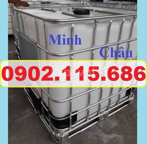 Tank IBC đựng hóa chất, bồn 1 khối đựng nước công trình bồn 1000l đựng (ảnh 6)