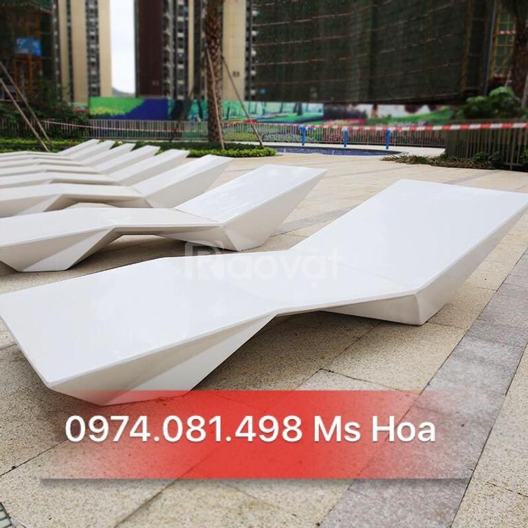 Ghế nhựa hồ bơi Fiberglass, ghế nằm tắm nắng (ảnh 5)