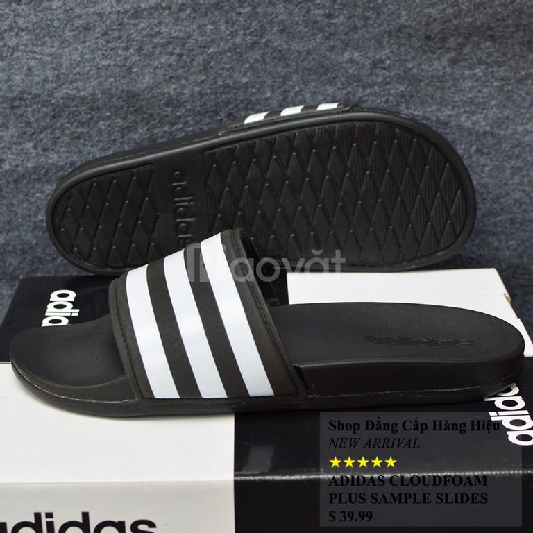 Dép Adidas Plus Cloudfoam Sample màu đen đế đen quai đen sọc trắng
