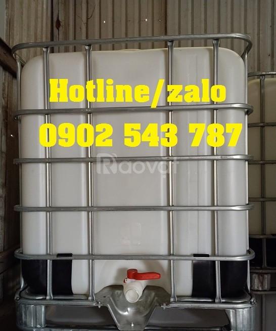 Bồn chứa ibc 1000 lít, thùng nhựa vuông 1000l, tank nhựa cũ 1000l