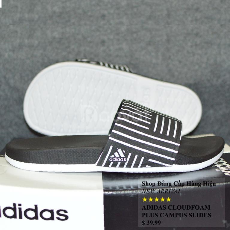 Dép Adidas Cloudfoam Plus CampusSample đen đế trắng quai đen sọc trắng