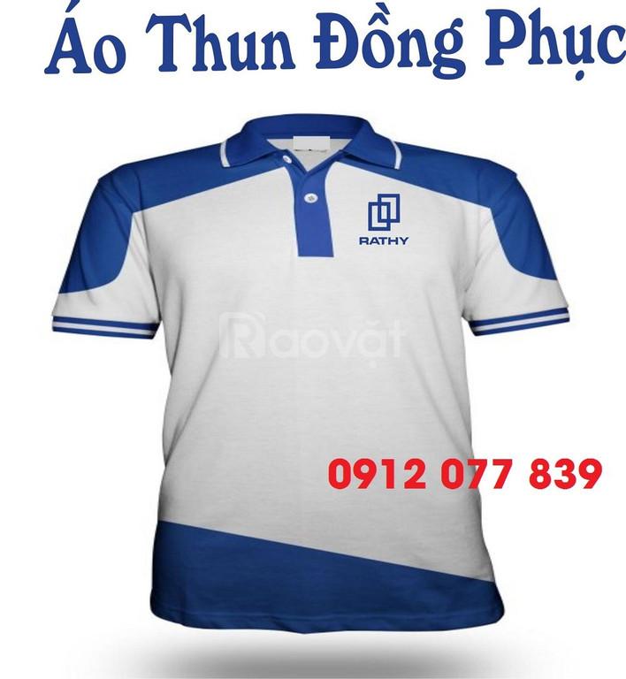 Áo thun nhân viên công ty phối màu xanh dương đậm nhạt