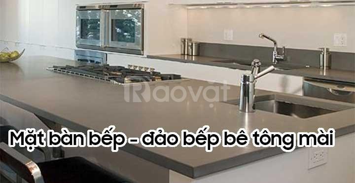Thi công mặt bàn bếp bê tông mài - bê tông nhẹ BTMSONGANH