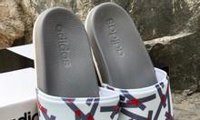 Adidas Cloudfoam Plus Graphic màu xám đế trắng quai trắng logo xám đỏ