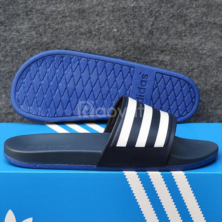 Adidas Cloudfoam xanh đen đế xanh đen quai xanh đen sọc trắng