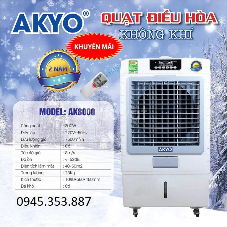 Quạt điều hòa không khí Akyo AK-8000 hàng nhập khẩu Thái Lan