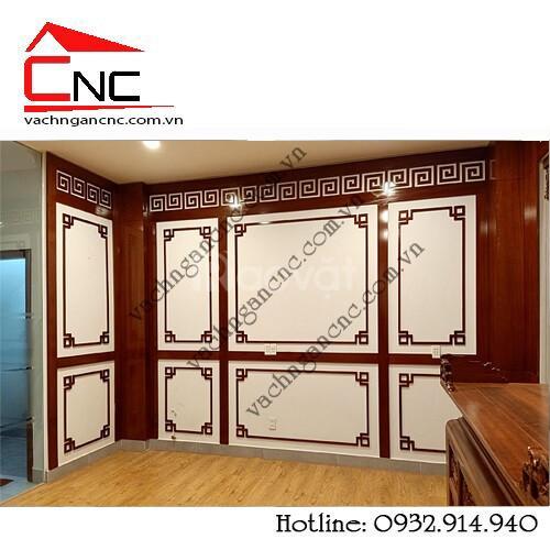 Thi công, trang trí vách ngăn phòng thờ vách ốp tường cnc tại Lake Vie