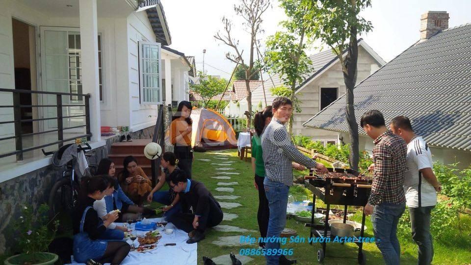 Bếp nướng BBQ sân vườn khung thép acter tree Ck350