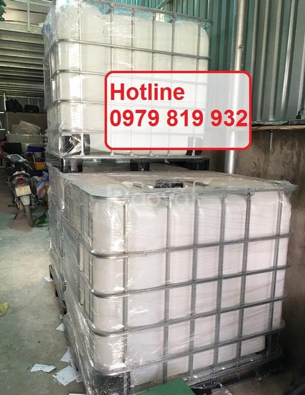 Bán thùng nhựa vuông 1 khối, tank nhựa vuông 1000l chứa hóa chất