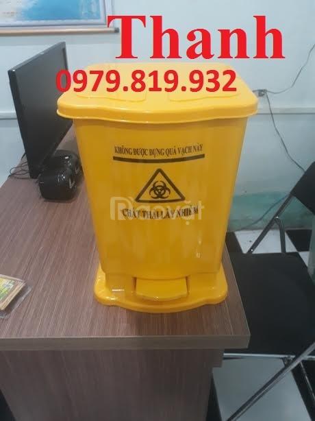 Cung cấp thùng rác, thùng rác đạp chân y tế 20 lít màu xanh lá