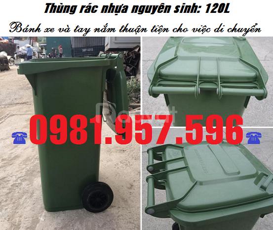 Thùng rác 120L có 2 bánh xe, thùng rác ngoài trời 120L
